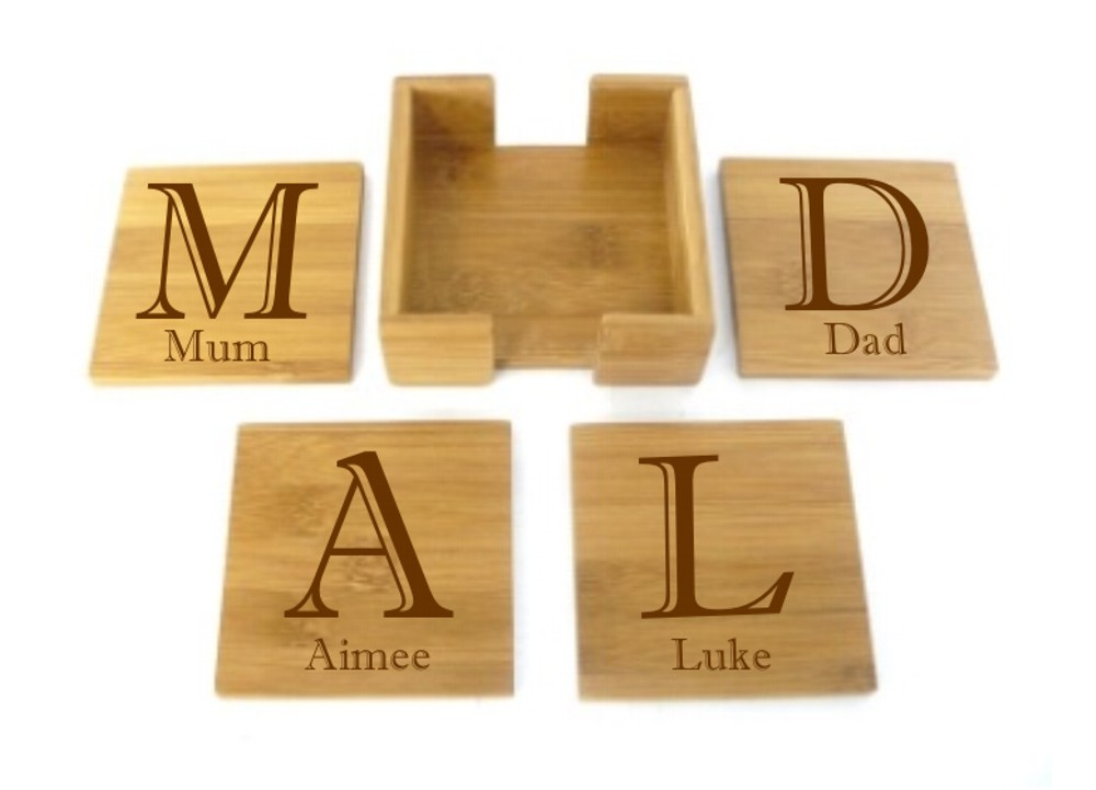 Engraved Bamboo Wooden Coasters Set