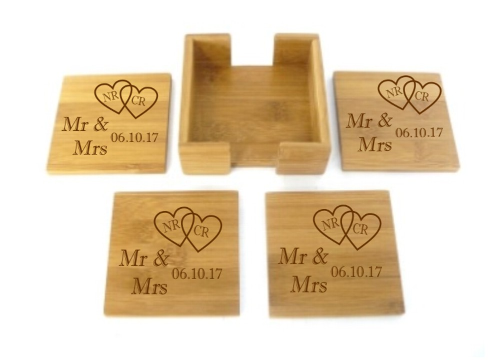 Engraved Bamboo Wooden Mr & Mrs Coasters Set