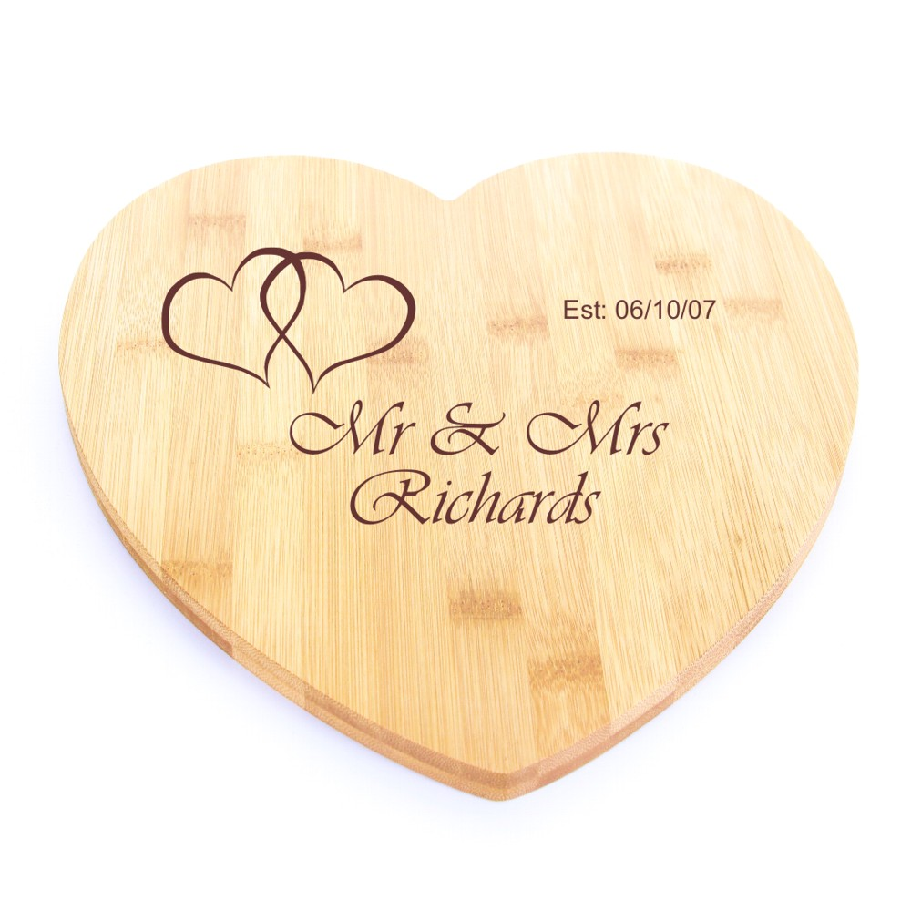 Engraved Bamboo Wooden Heart Chopping Board