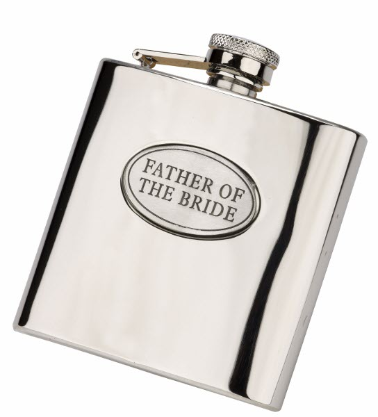 Engraved 6oz S/Steel FATHER OF THE BRIDE Hip Flask