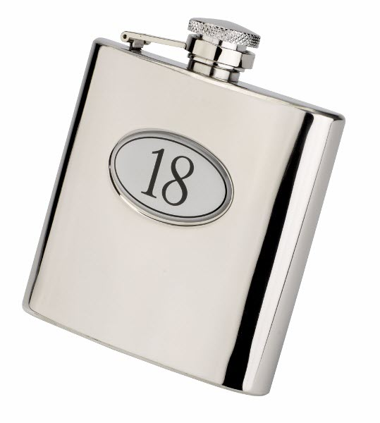 Engraved 6oz S/Steel 18th Birthday Hip Flask Gift Set