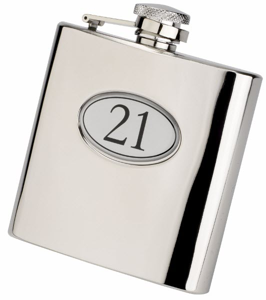 Engraved 6oz S/Steel 21st Birthday Hip Flask Gift Set