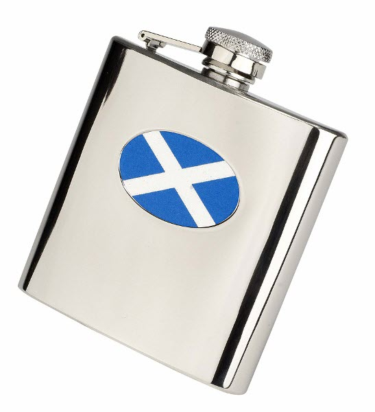 Engraved 6oz S/Steel Scotland Flag Hip Flask Set
