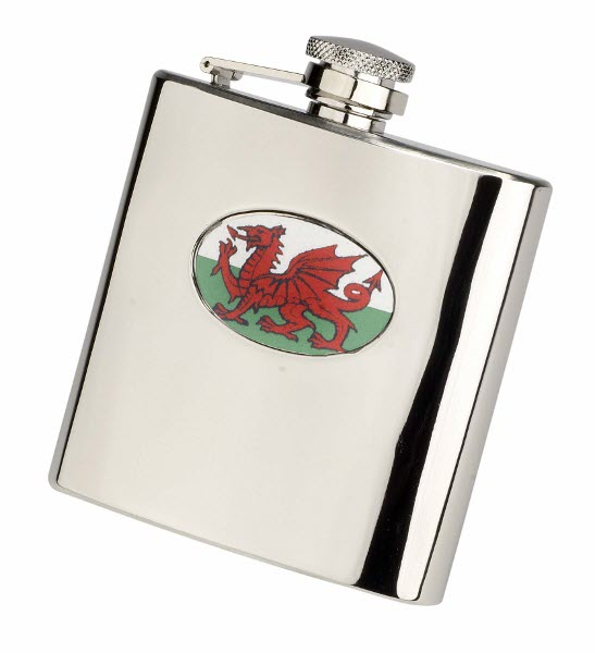 Engraved 6oz S/Steel Wales Flag Hip Flask Set