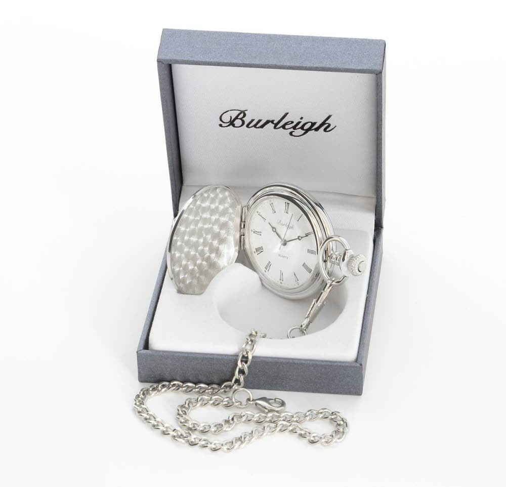 Engraved Burleigh Silver Finish Pocket Watch