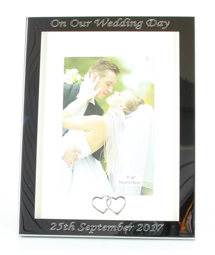 Engraved Silver Hearts Photo Frame