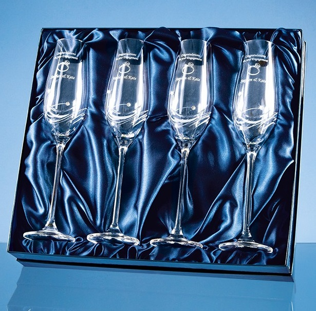 Set of 4 Engraved Champagne Flutes with Crystals