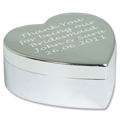 Personalised Engraved Large Heart Trinket Box