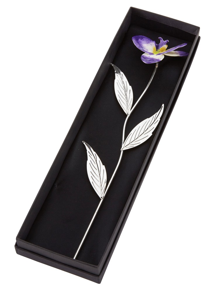 Engraved Silver Plated Purple Orchid with Gift Box