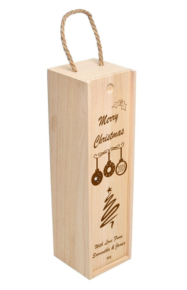 Personalised Christmas Bauble Wooden Wine Box