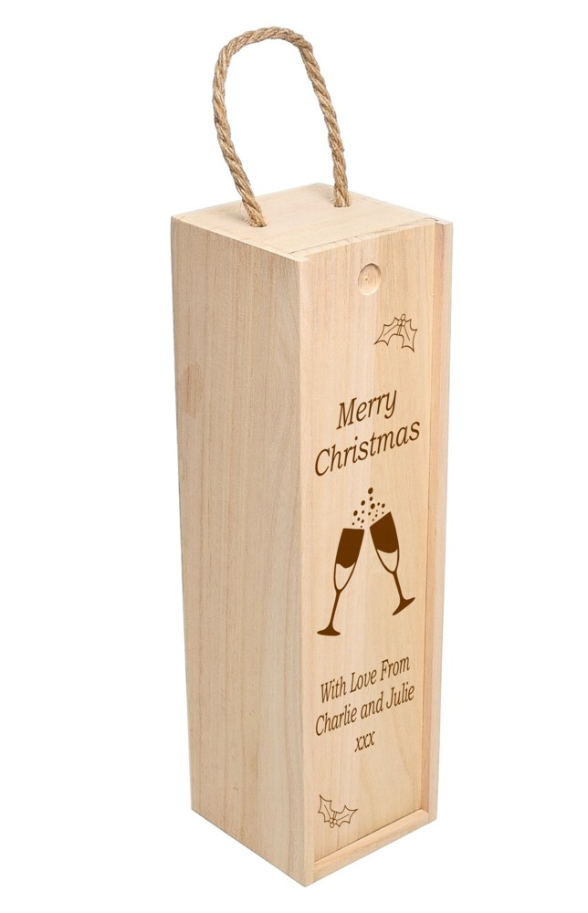 Personalised Merry Christmas Wooden Wine Box