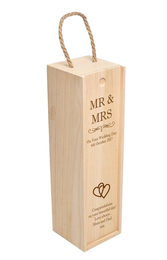 Personalised Mr & Mrs Wooden Wine Box