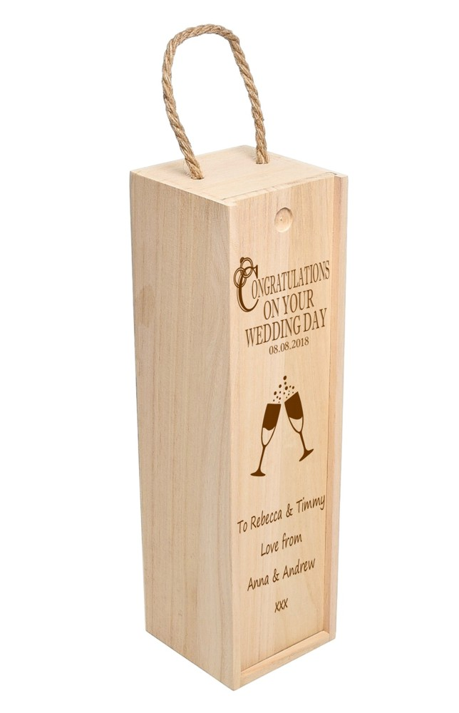 Personalised On Your Wedding Day Wooden Wine Box