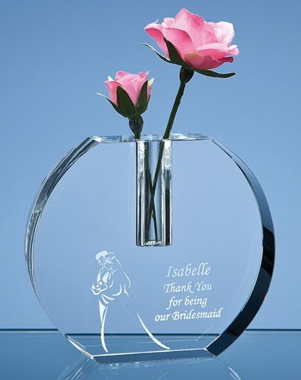 Engraved Optical Crystal Bud Vase