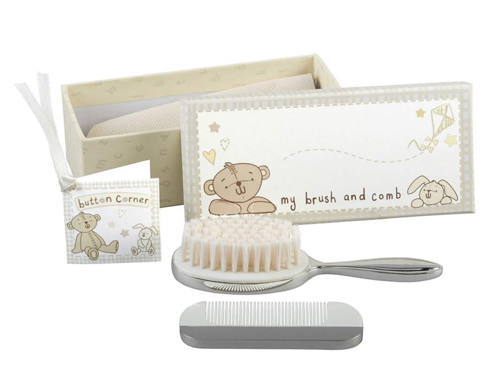 Engraved Silver Plated Brush & Comb Set