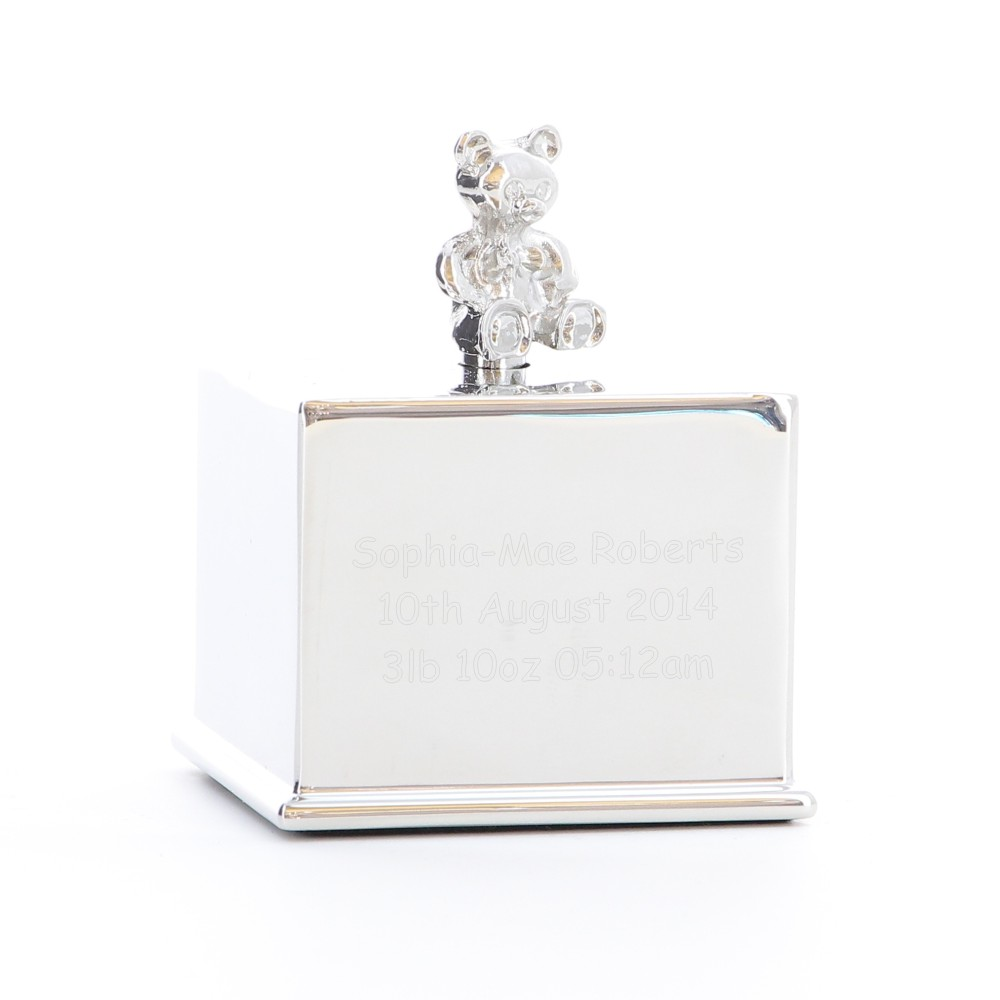 Engraved Silver Plated Music Cube