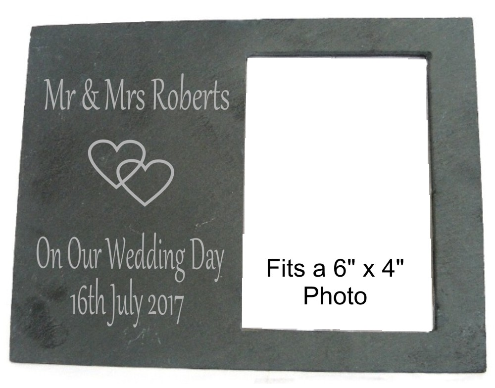 Engraved Wedding Day Slate Photo Frame