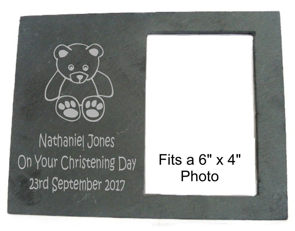 Engraved Teddy Bear Slate Photo Frame @ A1 Personalised Gifts