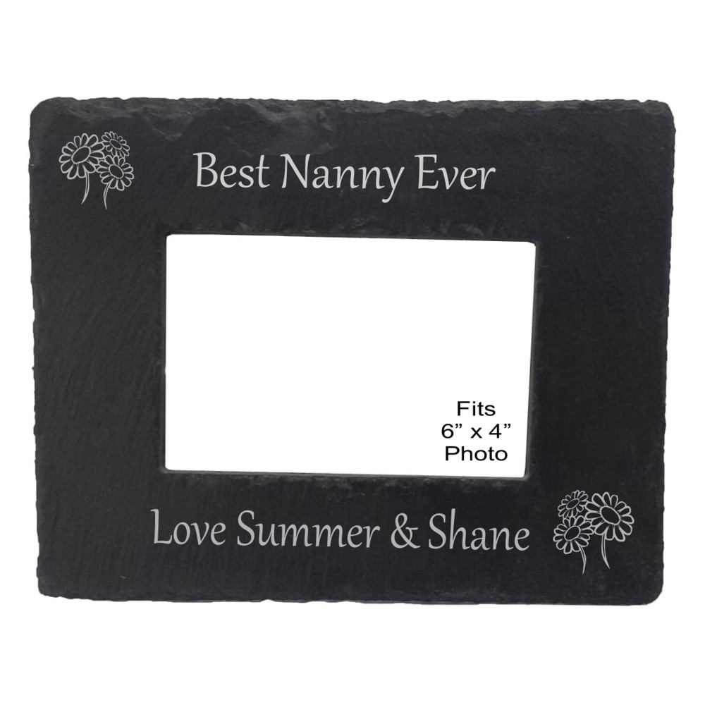 Engraved Best Nanny Slate Photo Frame