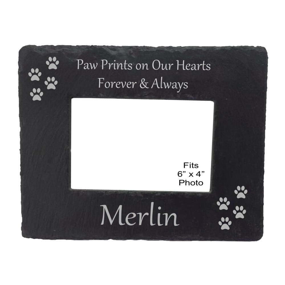 Engraved Paw Print Slate Photo Frame
