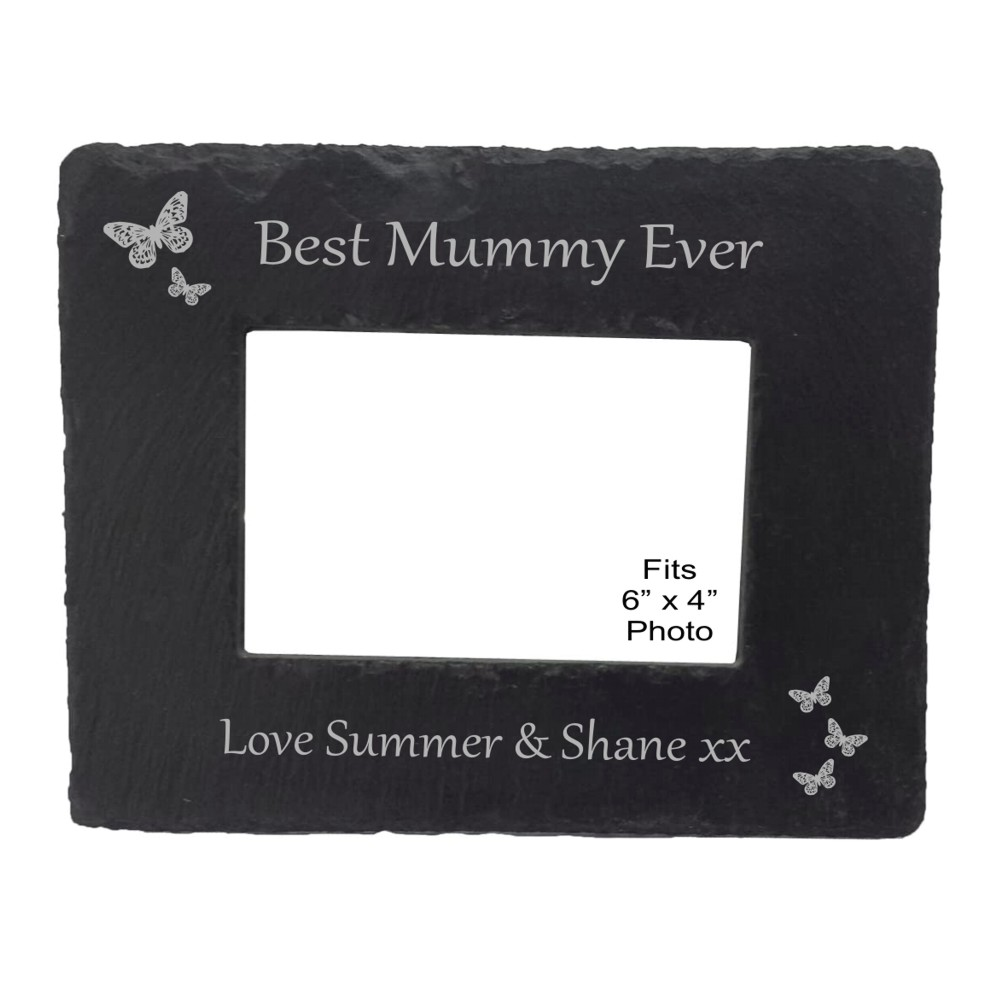 Engraved Best Mummy Slate Photo Frame