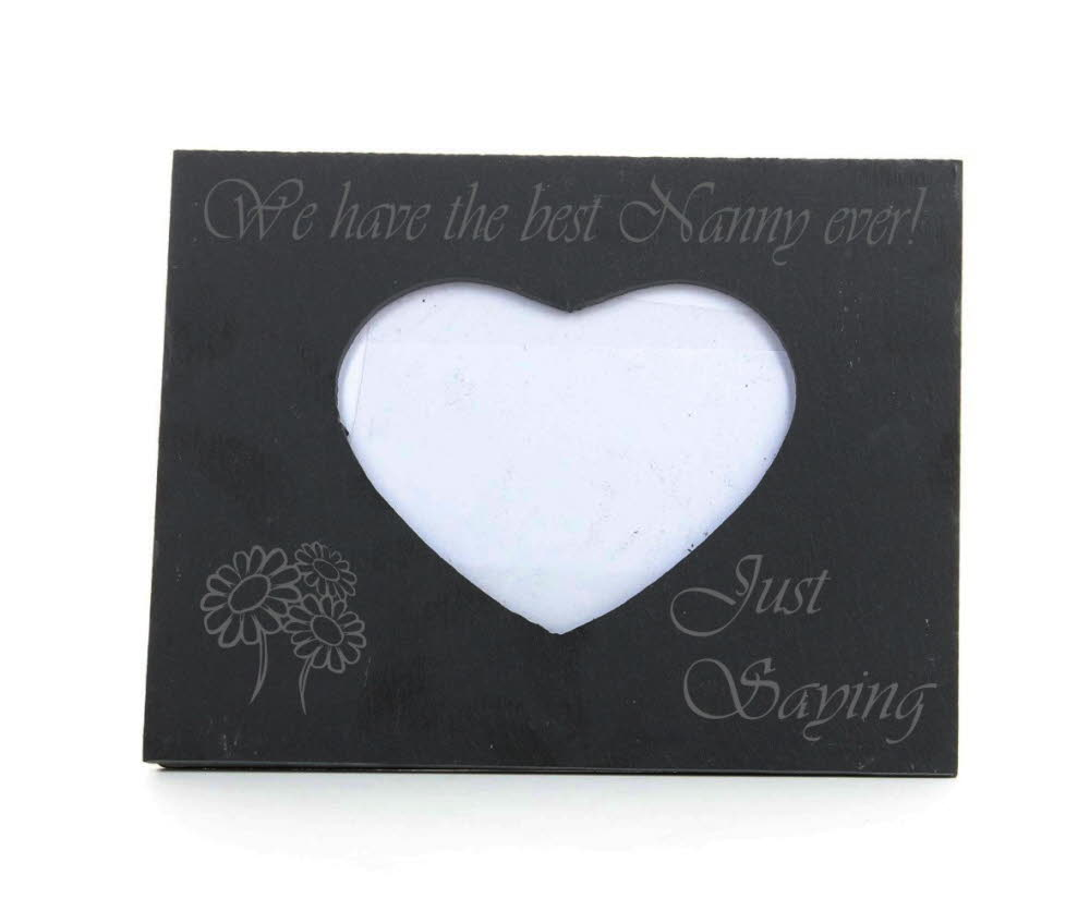 Engraved Nanny Heart Slate Photo Frame