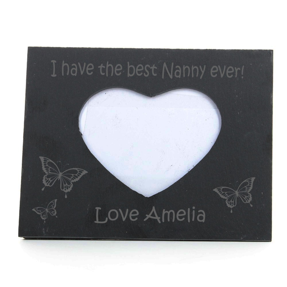 Engraved Best Nanny Heart Slate Photo Frame