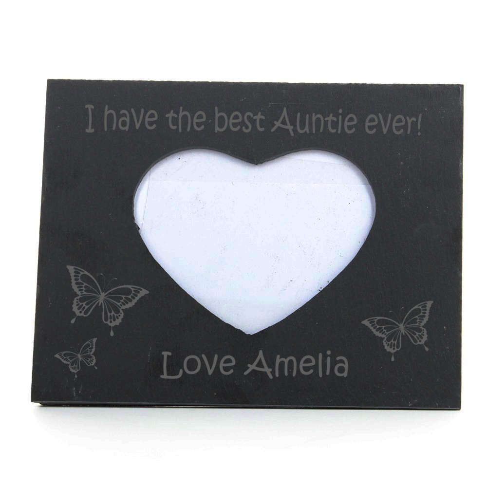 Engraved Best Auntie Heart Slate Photo Frame