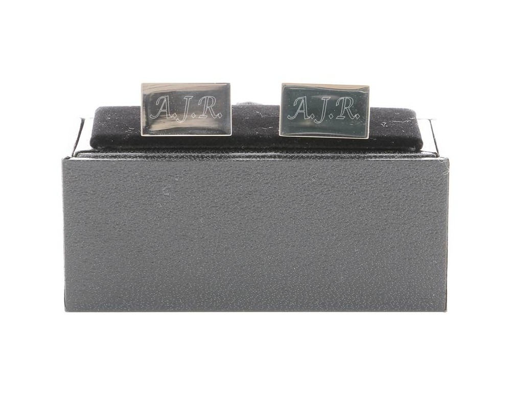 Engraved Rectangle Cufflinks with Gift Box
