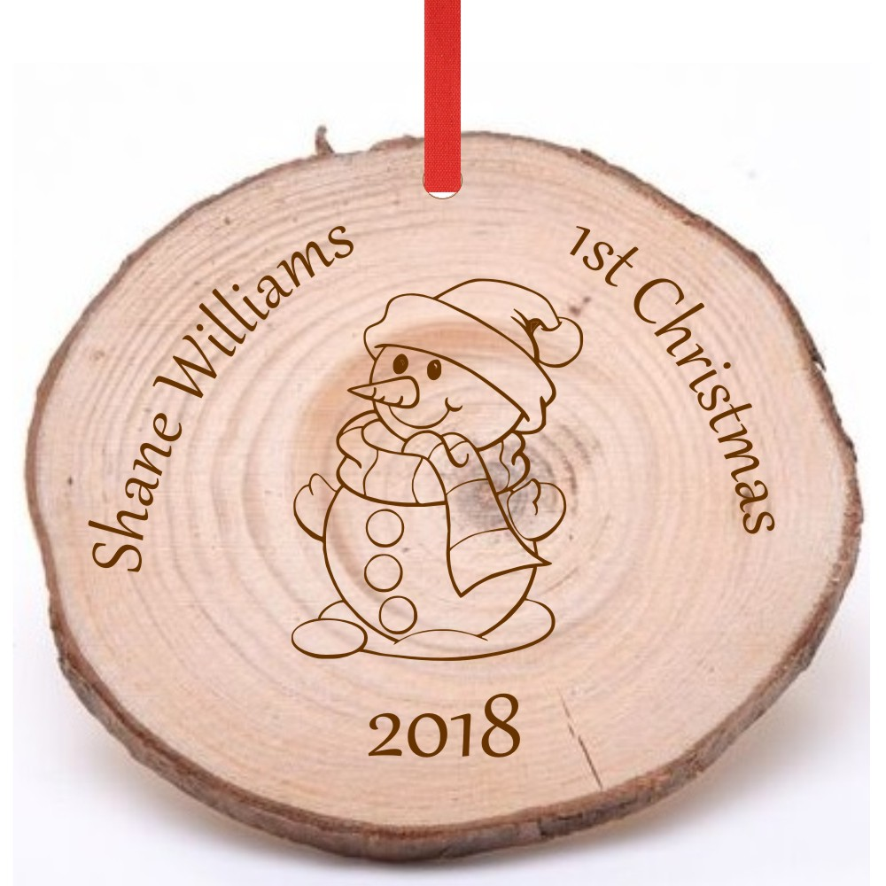 Personalised Wooden 1st Christmas Tree Decoration A1 Personalised