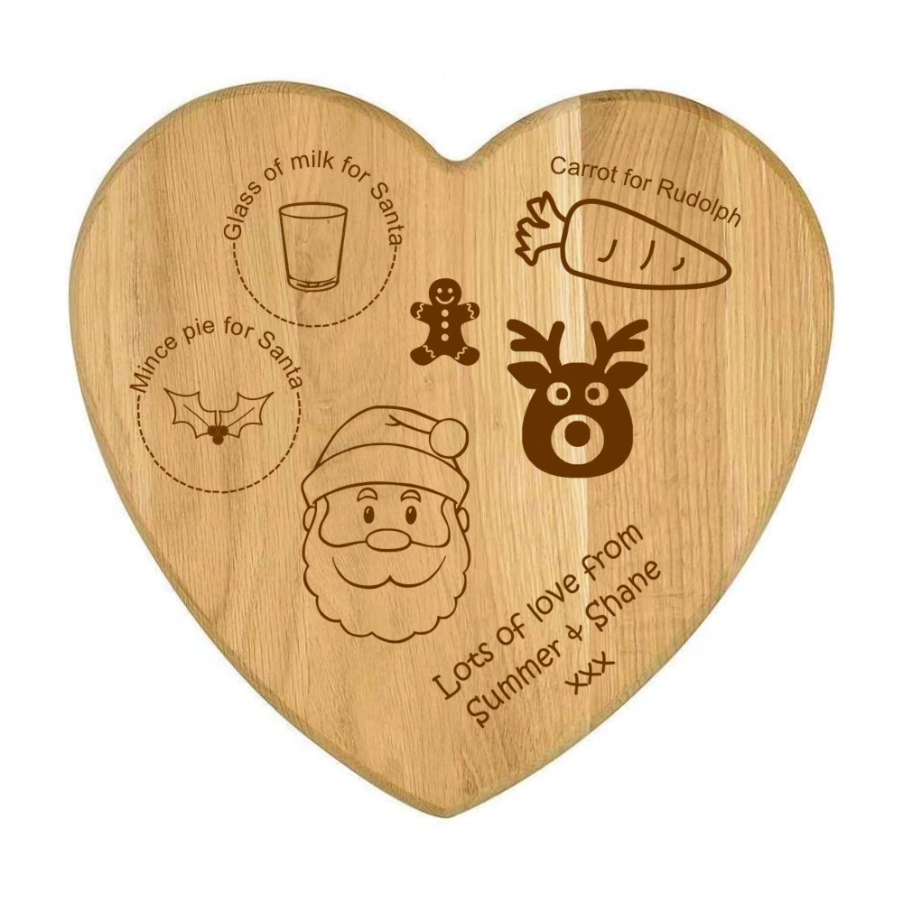 Engraved Wooden Christmas Eve Santa Plate