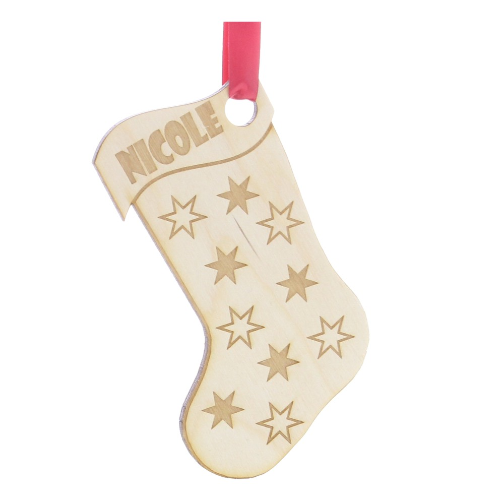 Personalised Wooden Stocking Christmas Tree Decoration