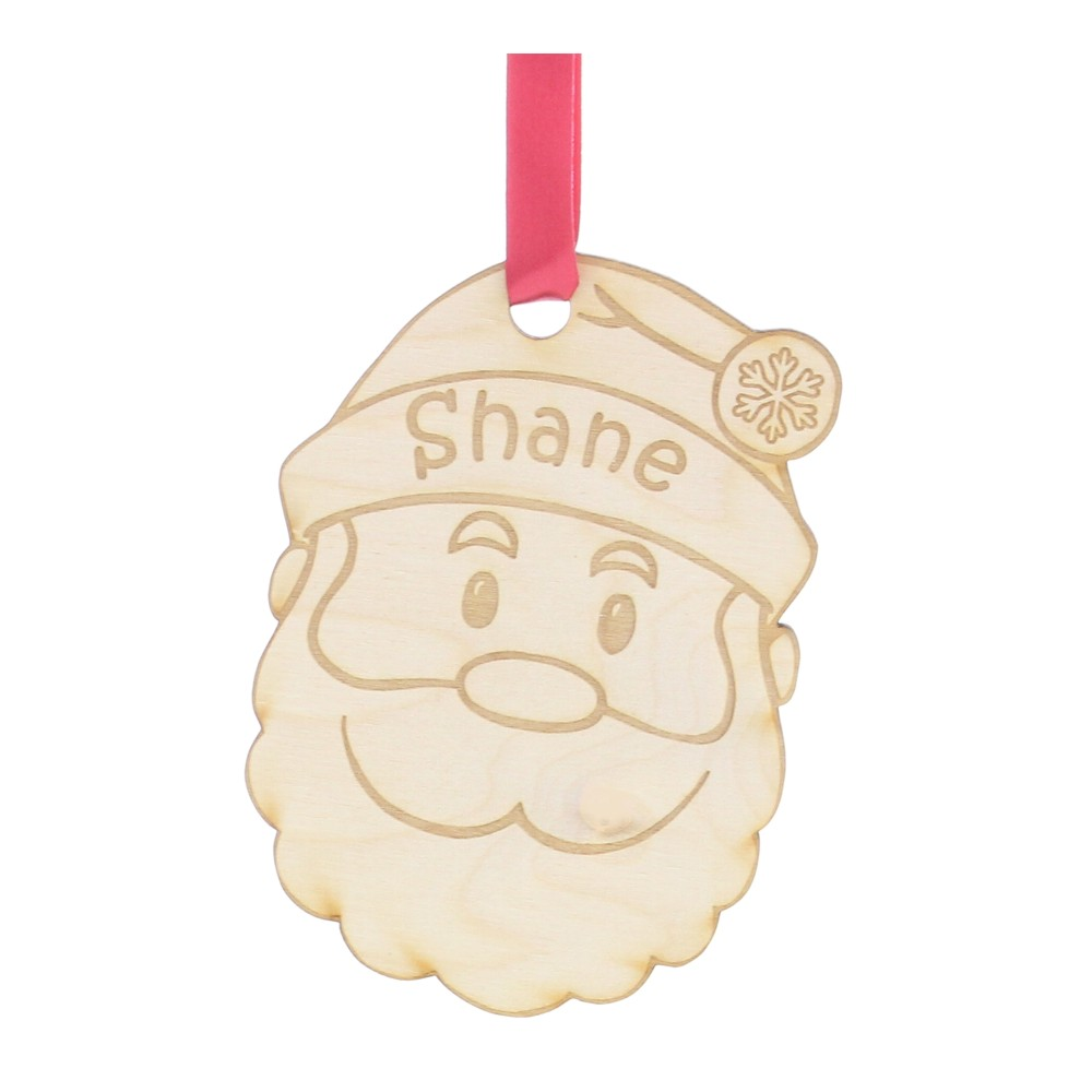 Personalised Wooden Santa Christmas Tree Decoration