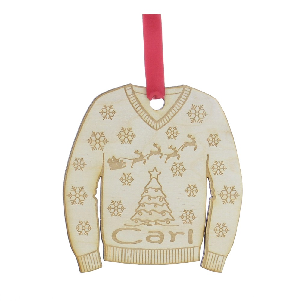 Personalised Wooden Christmas Jumper Tree Decoration