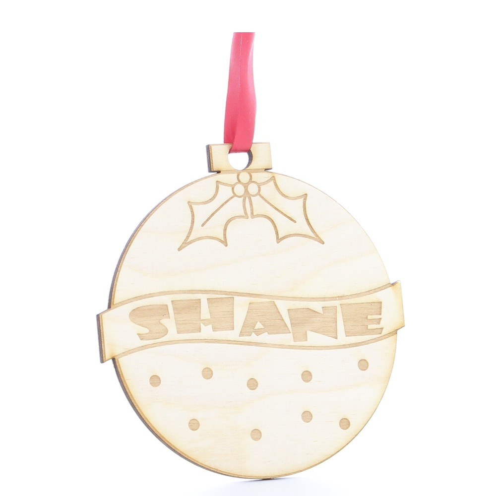 Personalised Wooden Christmas Pudding Tree Decoration