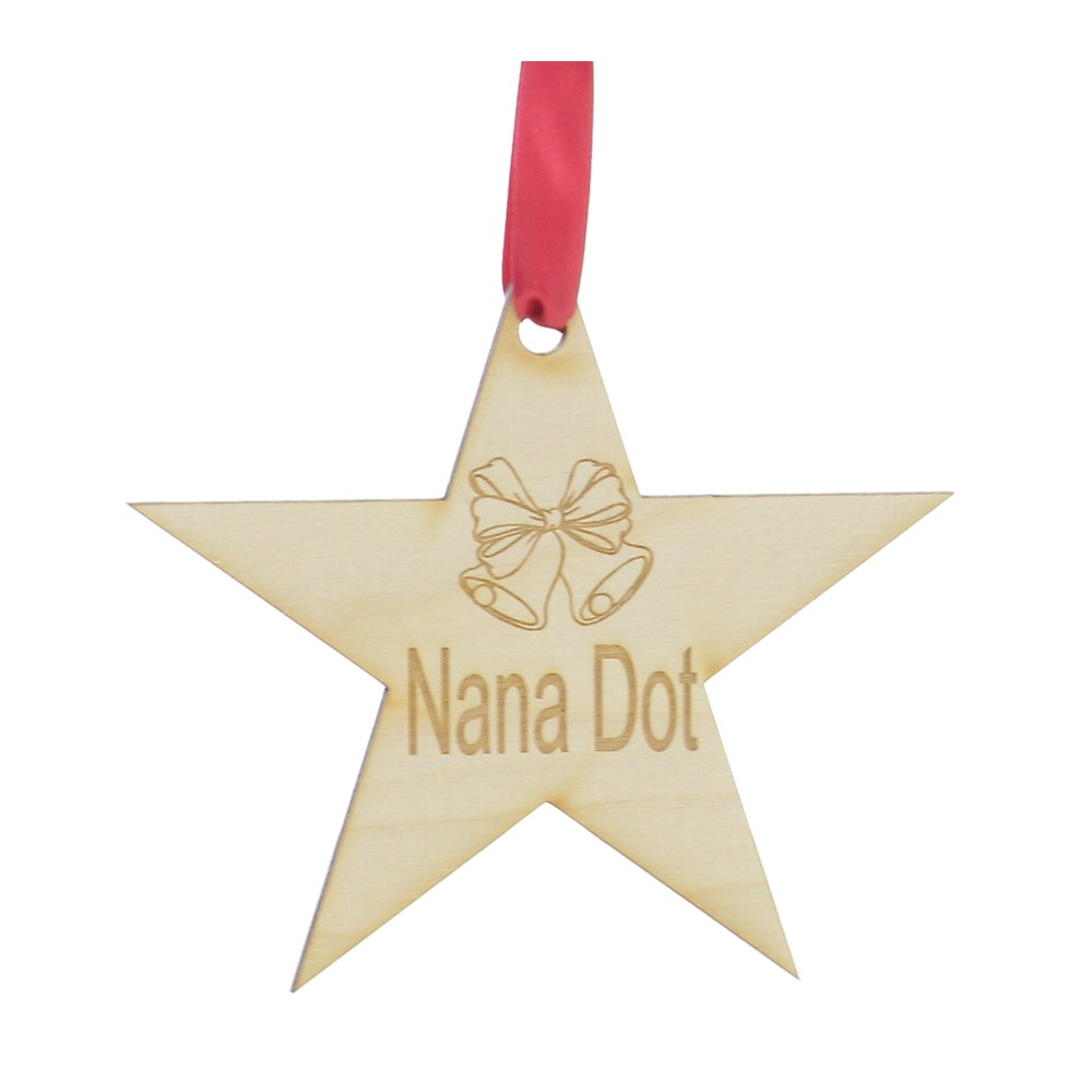 Personalised Wooden Christmas Star Tree Decoration