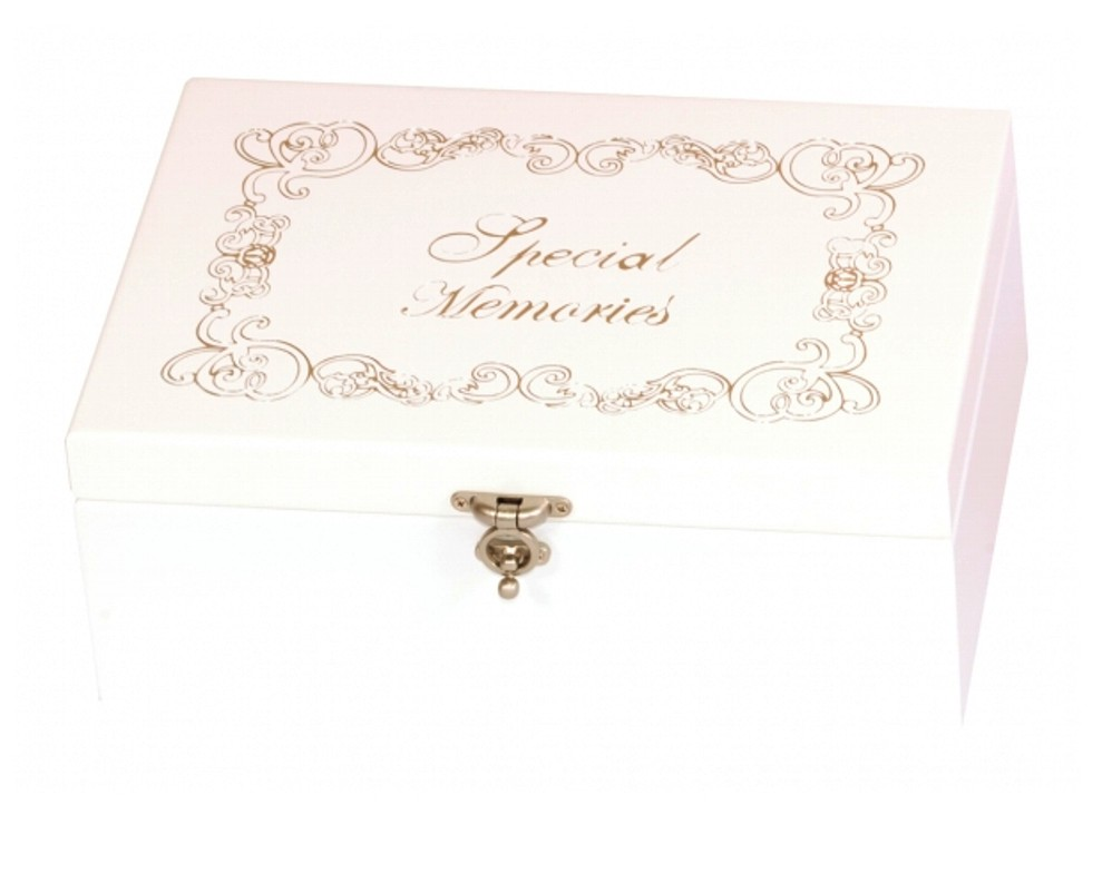 Personalised Wooden White Special Memories Box