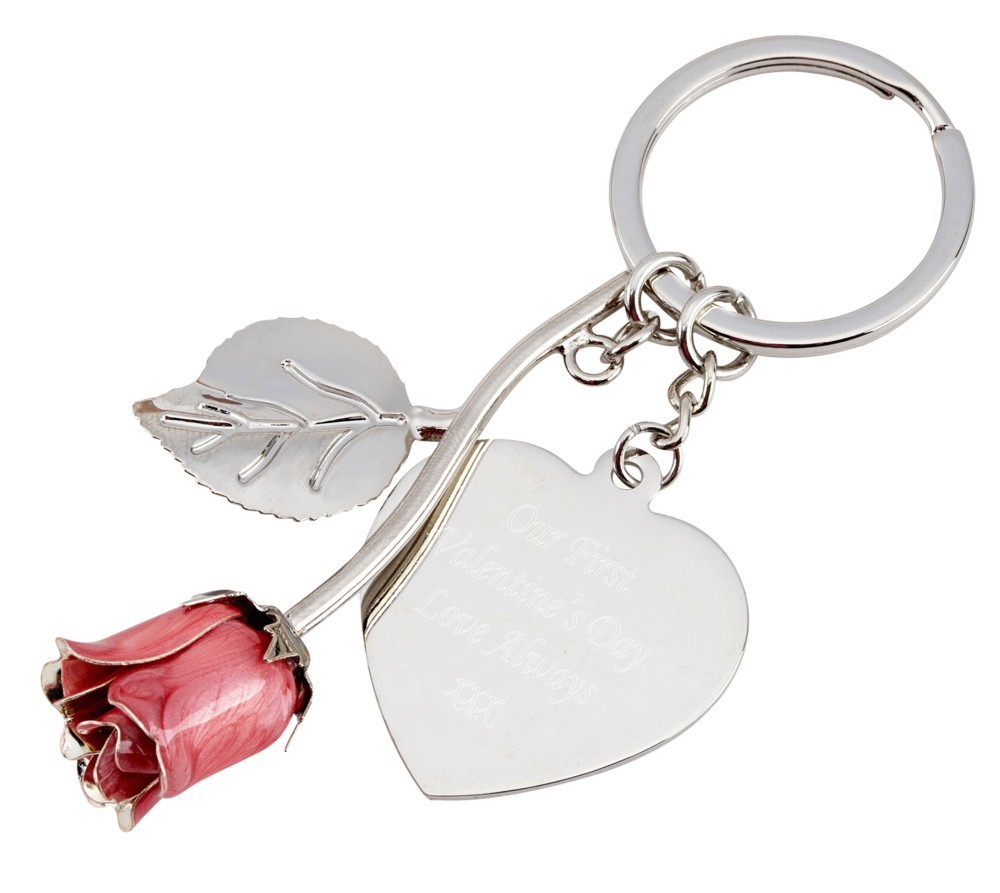 Engraved Pink Rose Keyring
