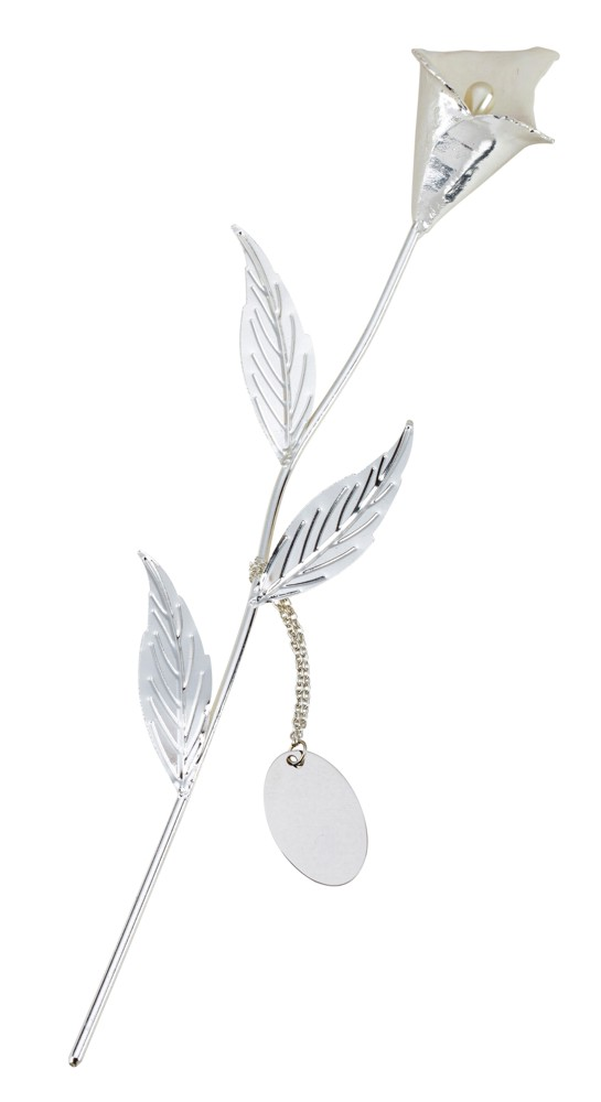 Engraved Silver Plated White Calla Lily with Gift Box