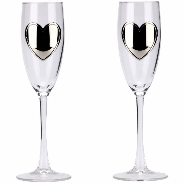 Pair of Champagne Flutes with Engraved Heart Badges