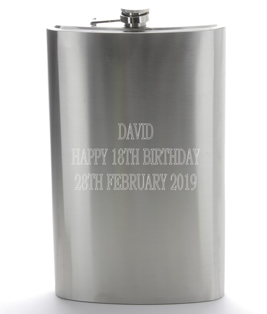 Engraved Giant Stainless Steel Hip Flask