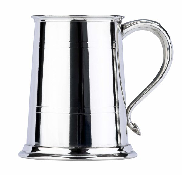 Engraved 1 Pint 2 Line Swan Handle Pewter Tankard