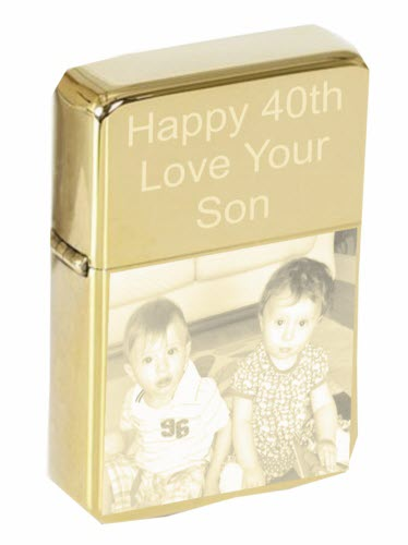 Personalised Photo Gold STAR Lighter & Tin