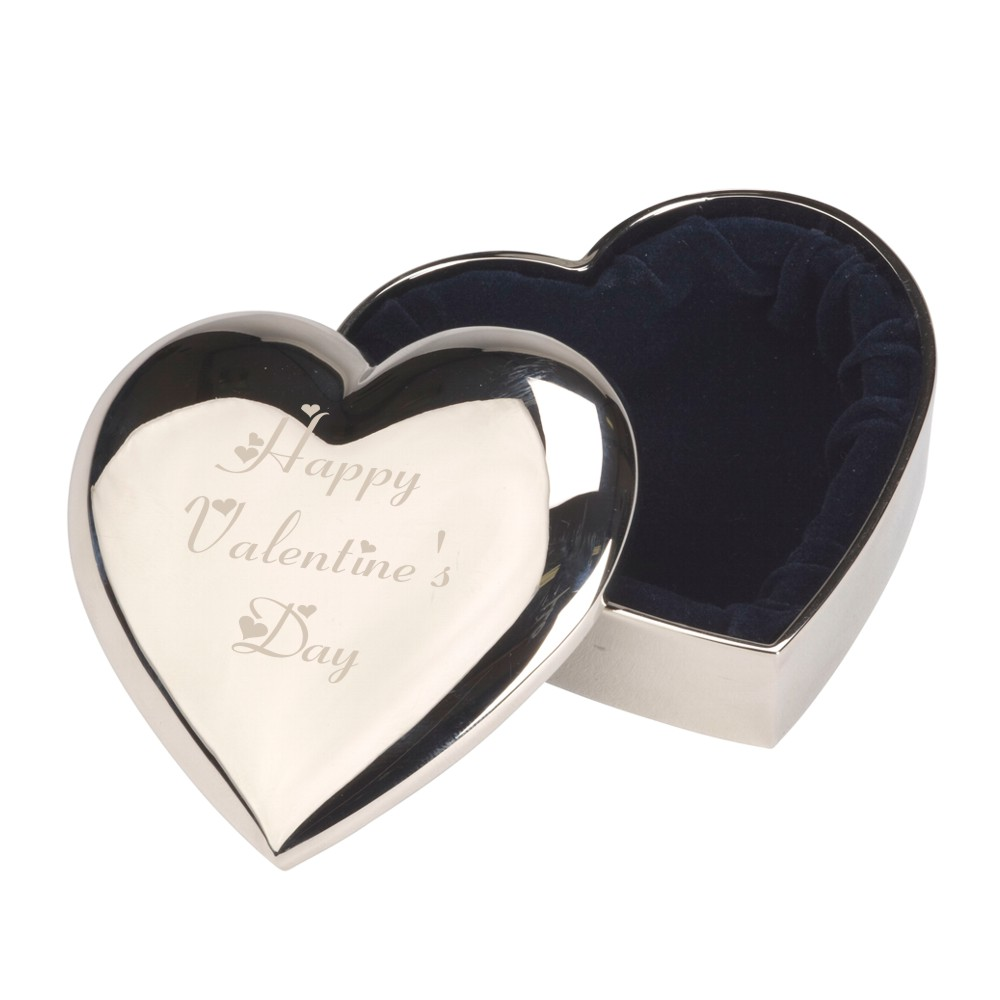 Engraved Happy Valentine's Day Heart Trinket Box