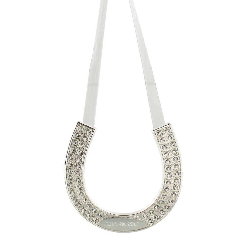 Engraved Amore Silver Plated Hanging Horse Shoe