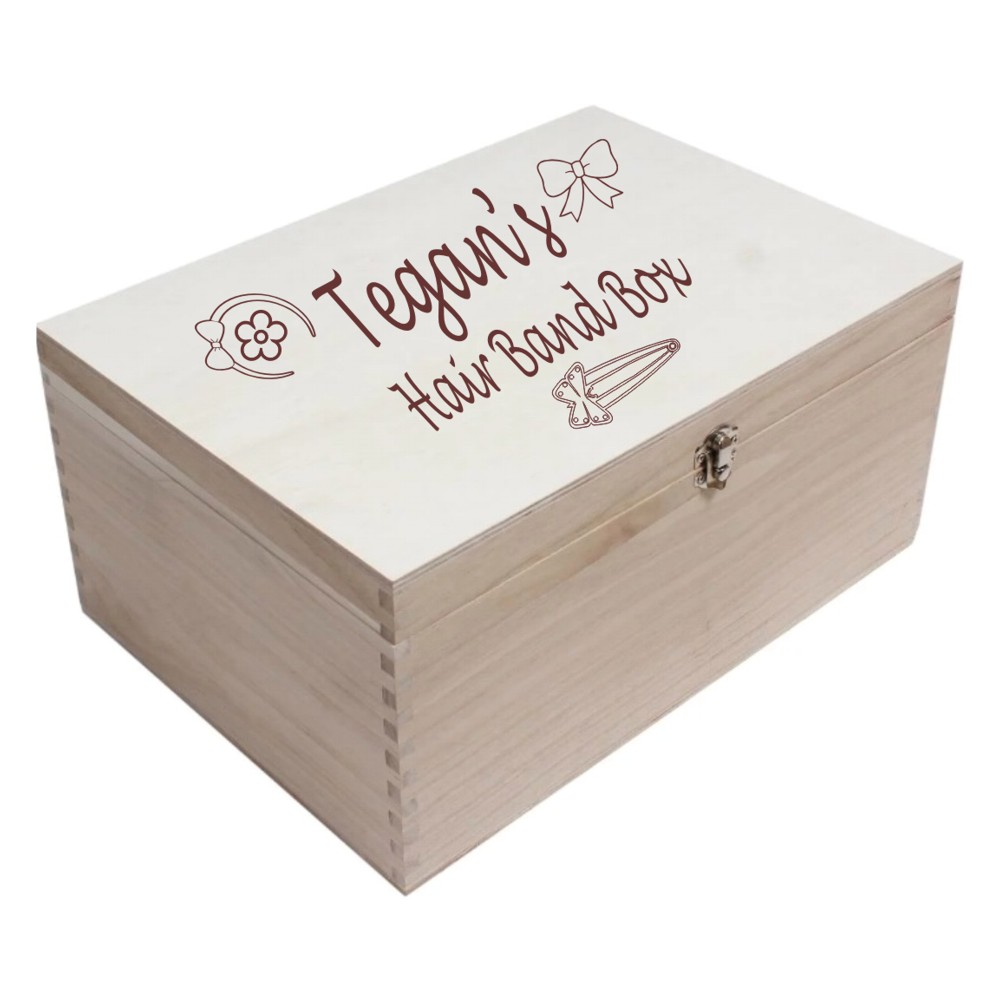 Personalised Wooden Hair Band/Accessories Box