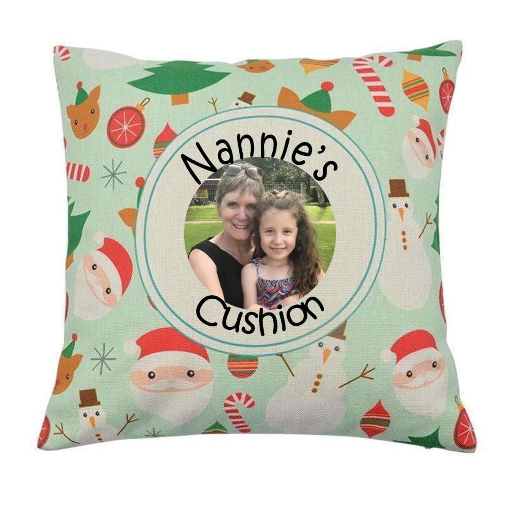 Personalised Christmas Photo Cushion Cover with Cushion