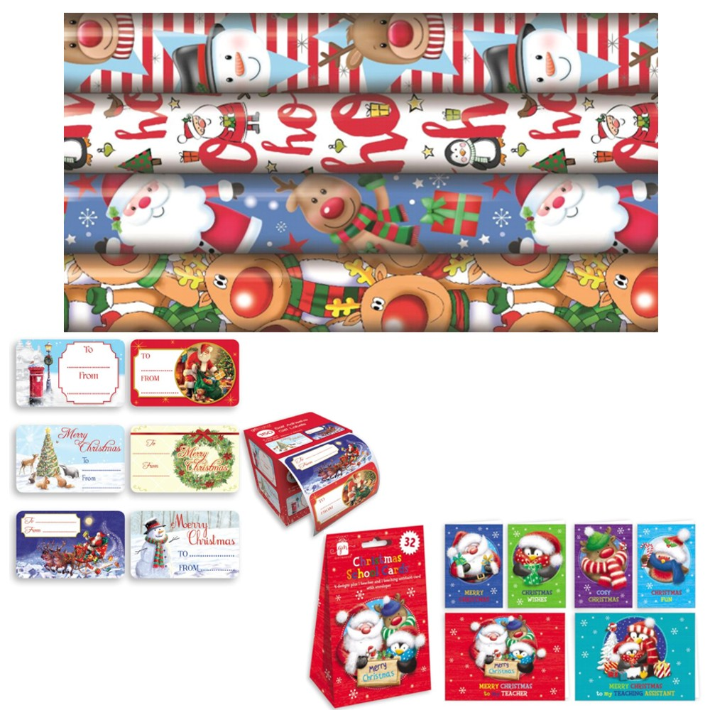 Christmas Wrapping Paper, Cards and Tags Bundle