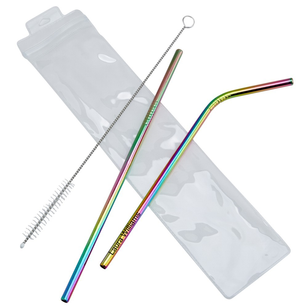 Engraved 3pc Rainbow Stainless Steel Straw Set