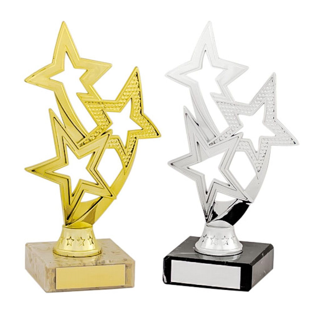 Gold and Silver Flowing Triple Star Trophies